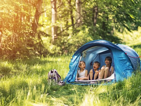 Little girl and brothers camping in a tent in a sunny forest